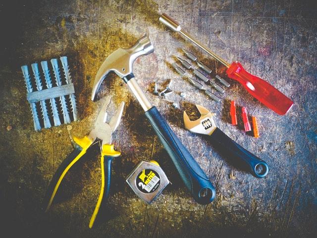 Tools set on plank